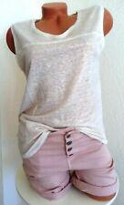 8a2a4782551c90 Promod Shirt TOP Tunika Leinen Glitzer-Faden Creme-Beige Gr. M/L