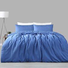 Queen Quilt Cover Doona Set Linen Cotton Ocean Blue 225 TC RRP $249