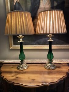 Pair Of Vintage  Elegant Antique Style Green Glass & Gilt Metal Table Lamps