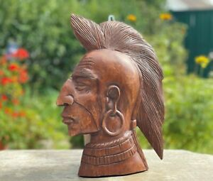 """Hand Carved Wood Indian Head Chief Bust Tobacco Store Cigar Shop Sculpture 15"""""""