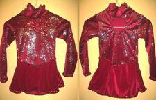 Dance Dress Ice Skating Costume Red velvet glittery fireworks sleeves Girls 4 6