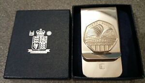 NEW ROYAL MINT 2000 British Libraries Celebration 50 Pence Money Clip Boxed