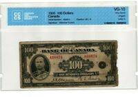 EXTREMELY RARE! 1935 $100 BANK OF CANADA - VG-10 CERTIFIED CCCS