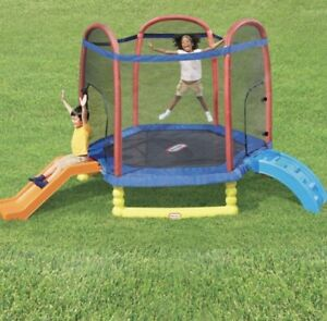 7 ft Trampoline Climb and Slide with Enclosure Blue 105 lbs Max Weight Limit