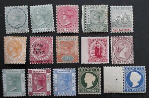 RARE late 1800s- Commonwealth mix of postage stamps inc. QV Mint