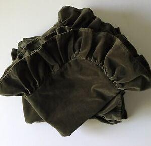 2 Ralph Lauren Home King Pillow Shams Green Velvet Ruffled Medieval Guinevere