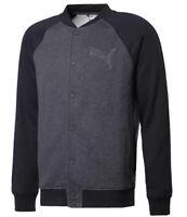 Puma LF Bomber Track Top Men's Jacket Black Grey Fleece Heather Mix Button Stud