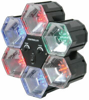 QTX 6 Way Colour POD Lights Sound Activated Singing Drums LED Party Disco NEW