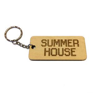 SUMMER HOUSE Wooden Keyring Keychain Fob Laser Engraved Organise Your Keys