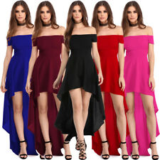 Sexy Off Shoulder High Low Hem Long Formal Prom Ball Gown Evening Party Dress