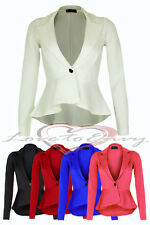 Womens Peplum Style Blazer Ladies New Fitted Dip Hem Detail Tailored Jacket