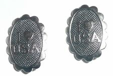 """I Love (Heart) USA Silver Toned Metal Shank Button  Patriotic Button 1/2"""" x 5/8"""""""