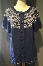 LANE BRYANT BLUE SHORT SLEEVE CARDIGAN WITH FAIR ISLE DETAIL AT NECKLINE