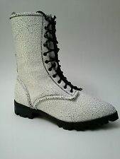 Luxury Rebel Gretchen Combat Boot White Leather Sz 37.5  $225