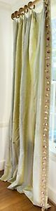 Pr High End Decorator Pleated Drapes Silk Taffeta Brocade Aqua & Seafoam  WW150