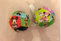 MICKEY & MINNIE MOUSE PAIR SOFT SOCCER TOY BALLS KIDS LOVE DISNEY CHARACTER CLUB