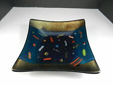 "Art Glass Shallow Square Bowl Canes Dichroic Bronze Blue 8 1/2"" Across K McVay"
