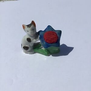 Vintage Cat With Blue And Red Flower Pin cushion Made In Japan Kitten