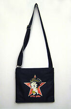 Betty Boop Shoulder Bag Cross Body Messenger Handbag Purse Black Red Star Zip