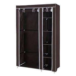 Double Canvas Clothes Storage Organizer Wardrobe Shelves Hanging Rail #NG