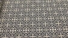 WESTMINISTER FABRICS BLACK AND WHITE MEDALLIONS ON BLACK COTTON FABRIC BTY