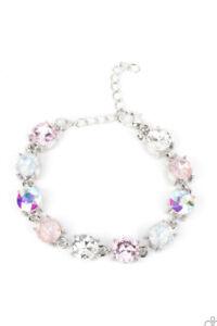 New Releas PAPARAZZI Jewelry PINK MULTI IRIDESCENT OIL SPILL Clasp BRACELET OSFA
