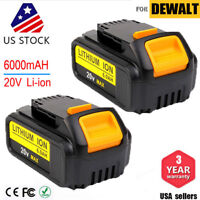 2x 20 Volt MAX 6.0Ah Lithium-Ion For DEWALT DCB206 20V Battery DCB205 DCB204-2