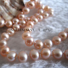 "16"" 5-6mm Peach Pink AA Freshwater Pearl Necklace Child Jewelry L AC"