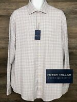 NWT $149 Peter Millar Crown Crafted Men Multi-Color Plaid Long Sleeve Shirt XL