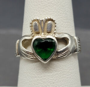 Vintage 925 Sterling Silver Celtic Claddagh Ring With Glass Size 6.5