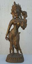 "Antique Brass India Hindu Goddess Lakshmi Statue Figure 12"""