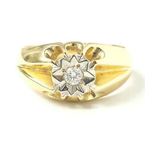 18ct Gold Men's Diamond Ring Yellow Illusion Set 9.3g Size T 0.05ct STAMPED 18CT