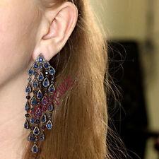 Sapphire Gemstone 5.18ct Rosecut Diamond Silver Dangle Chandelier Earrings