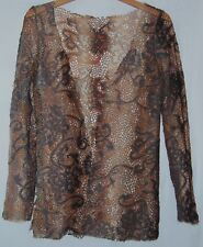 Bronze Brown Tan Womens Lace Shrug Sweater Wrap Floral Medium M
