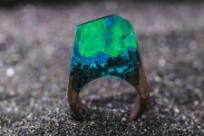 Wood Resin Ring Aurora Borealis Secret Handmade Wooden Resin Jewelry for women
