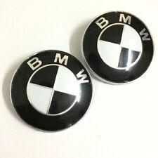 2PCS 82mm Black White Emblems Front/Rear Badge For BMW E30 E36 328i 530i X3 X5
