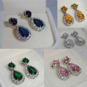 Women Sapphire/ Emerald/ Sim Diamonds White Gf Drop/Dangle Earrings , GIFT Boxed