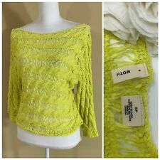 ANTHROPOLOGIE Women Tape Yarn Pullover Sweater Top by MOTH Yellow Small