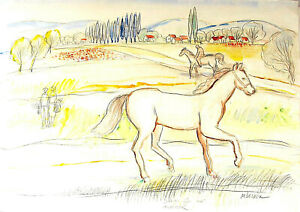 "Moshe Leider, Israeli artist Watercolor and color pencil ""Horse"" drawing signed"
