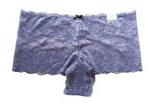 Cacique Lane Bryant Black Gray Lace Cheeky Short Panties 18/20 2X