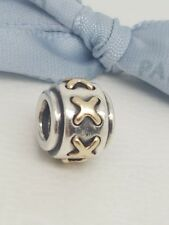 Authentic Pandora Sterling Silver & 14k Gold Shoe Lace Cross Stitch Bead 790290