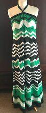Size 16 Monsoon Black White Green Halterneck Maxi Dress