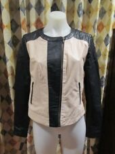 womens JUST JEANS stylish black cream two tone leather jacket SZ 12