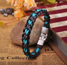 G205-07 Surfer Handmade Hemp & Leather Braided Wristband Bracelet Cuff Mens New