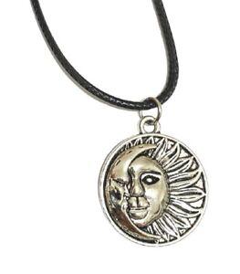 Juego de 3 Piezas De Oro Gargantilla Collar Colgante de Estrella Luna Sol Cordón Negro Astrología Unisex