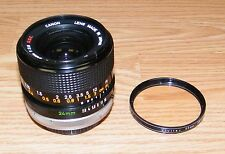 Genuine Canon Lens FD 24mm 1:2.8 SSC w/ Vivitar 55mm Skylight Filter Ring -JAPAN