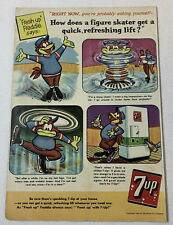 1959 7-Up FRESH UP FREDDIE cartoon ad page ~ FIGURE SKATER