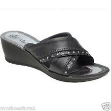 Ladies Women Black Mid Wedge Slip On Comfort Summer Casual Diamante Sandal Shoes