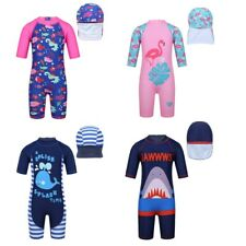Bambine un pezzo costume da bagno Costumi da bagno Costume da bagno Rash Guard + nuoto Cap