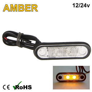 AMBER HELLA STYLE LED FLUSH FIT KELSA BAR MARKER LAMP LIGHT 12v 24v